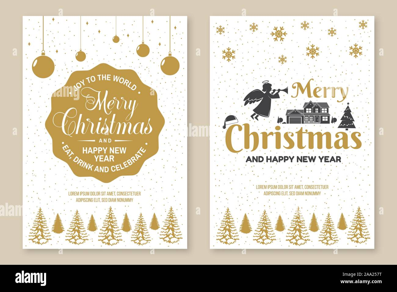 Set of Merry Christmas and 2020 Happy New Year poster, flyer