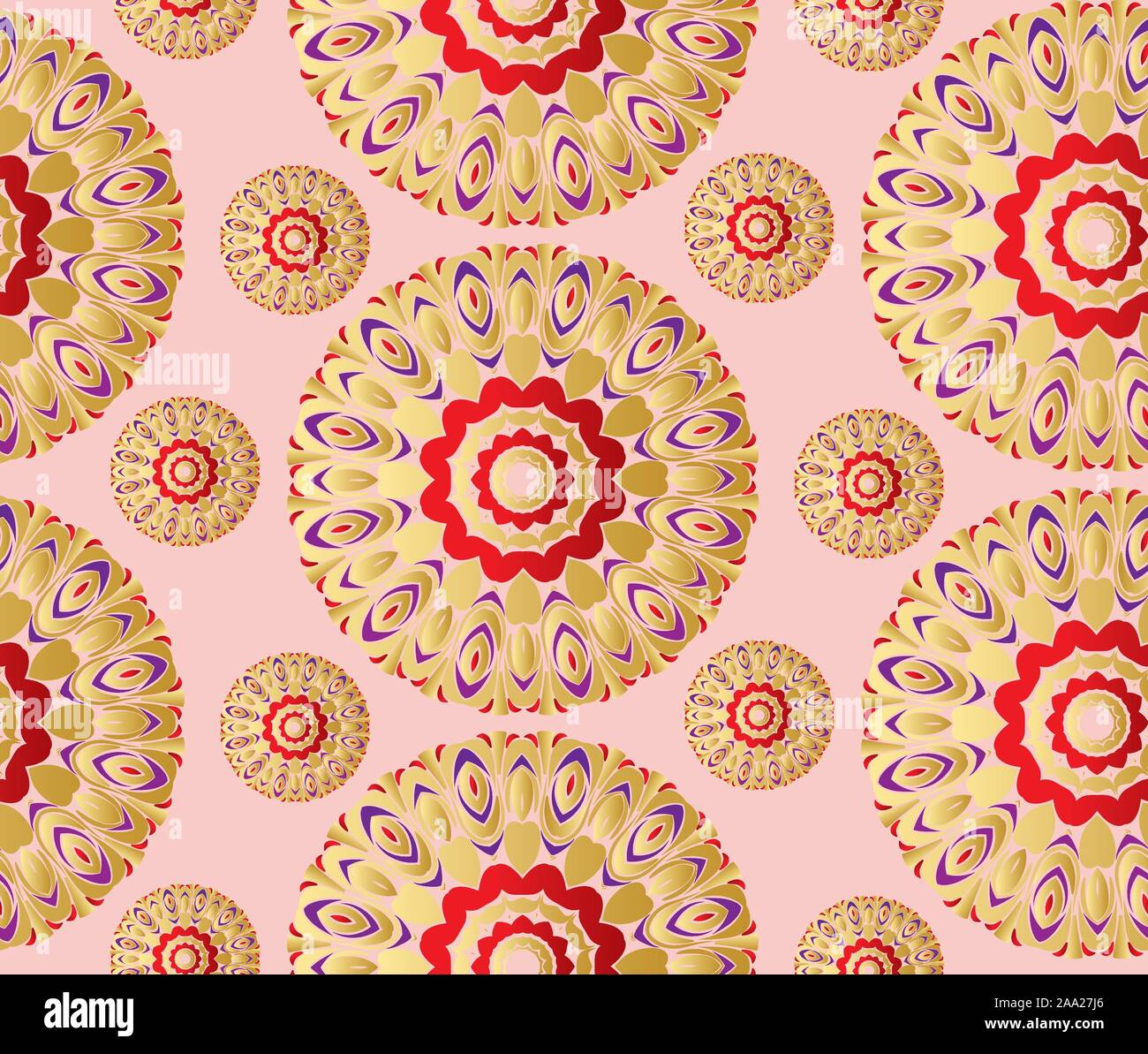 Vintage Decorative Golden Floral Patterns Design Background Stock