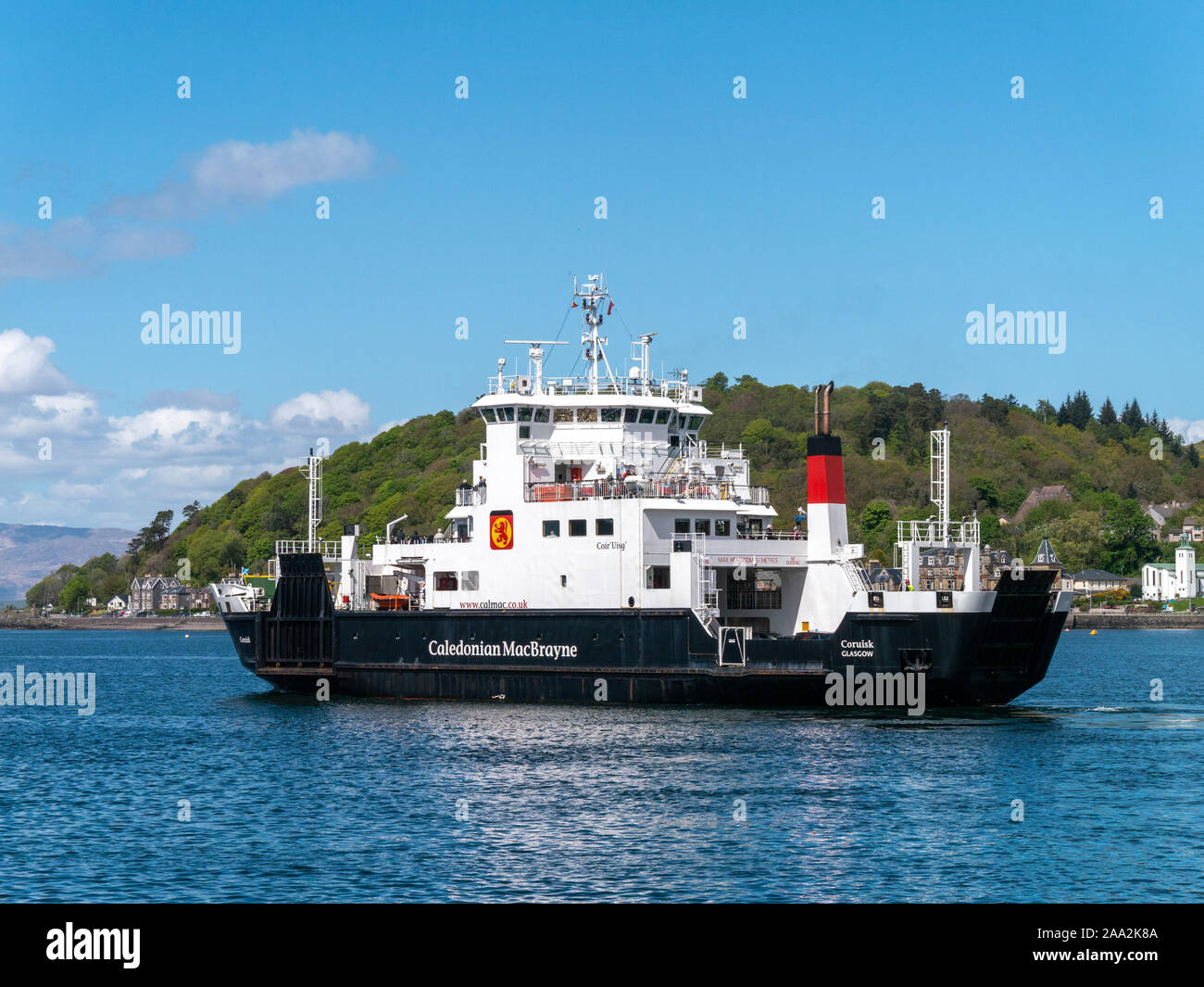 Caledonian Macbrayne Ferry MV Coruisk roll on roll off car and passenger ferry in Oban Harbour, Argyll and Bute, Scotland, UK. Stock Photo