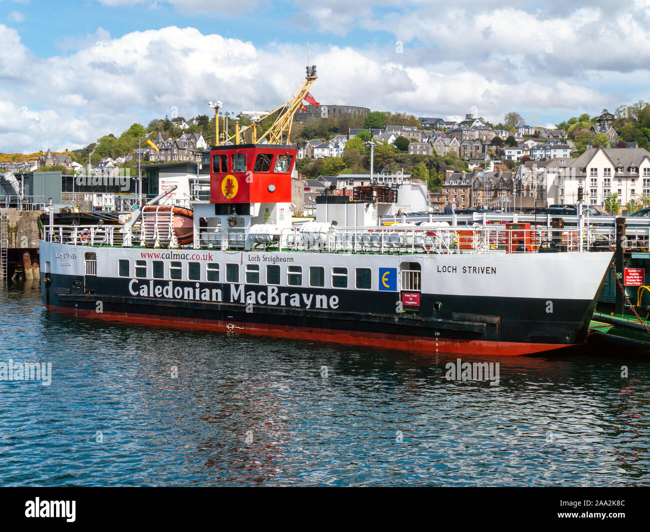 Caledonian Macbrayne ferry MV Loch Striven roll on roll off car ferry berthed at Oban Ferry Terminal, Argyll and Bute, Scotland, UK Stock Photo