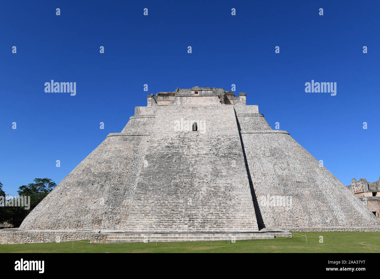 Pyramid of the Magician in Uxmal, an ancient Maya city of the classical period located in the Puuc region of the eastern Yucatan Peninsula, Mexico Stock Photo