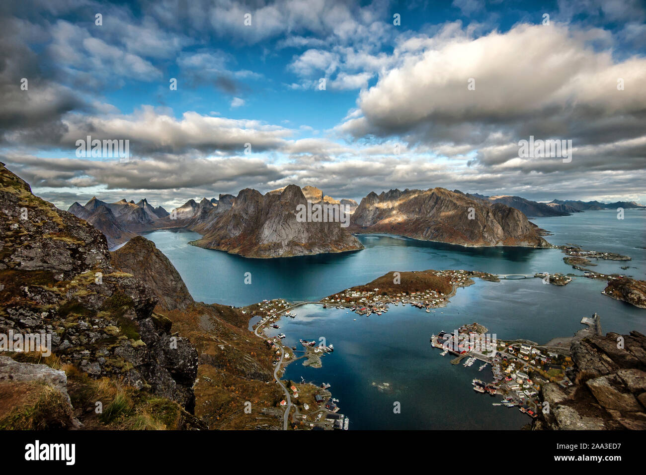 View from Mt Reinebringen, Moskenes, Lofoten, Nordland, Norway Stock Photo