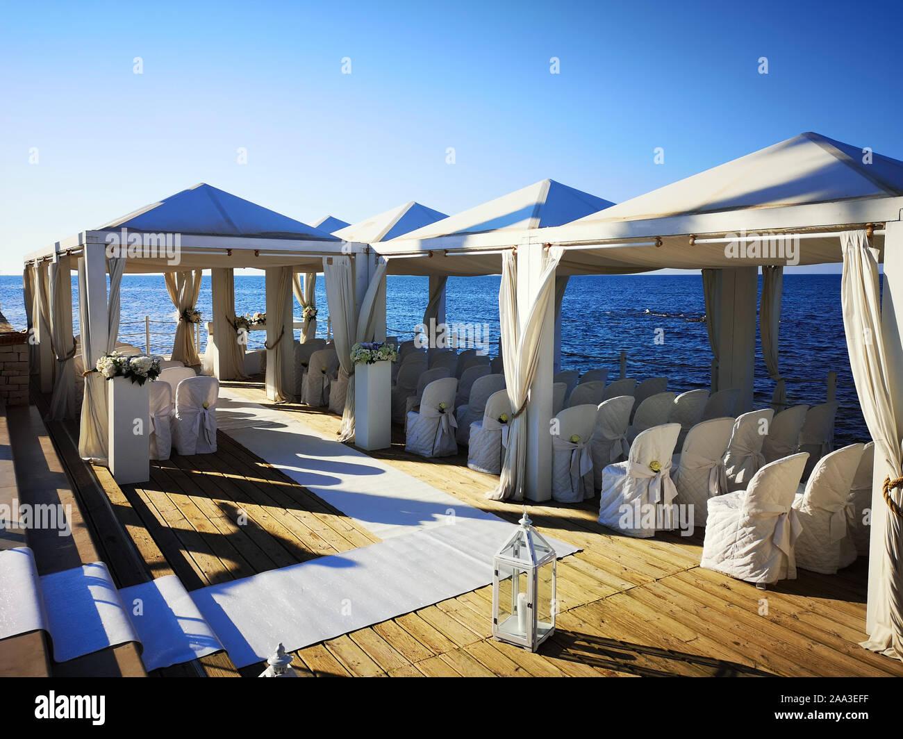 Outdoor wedding location by the sea, Apulia, Italy Stock Photo