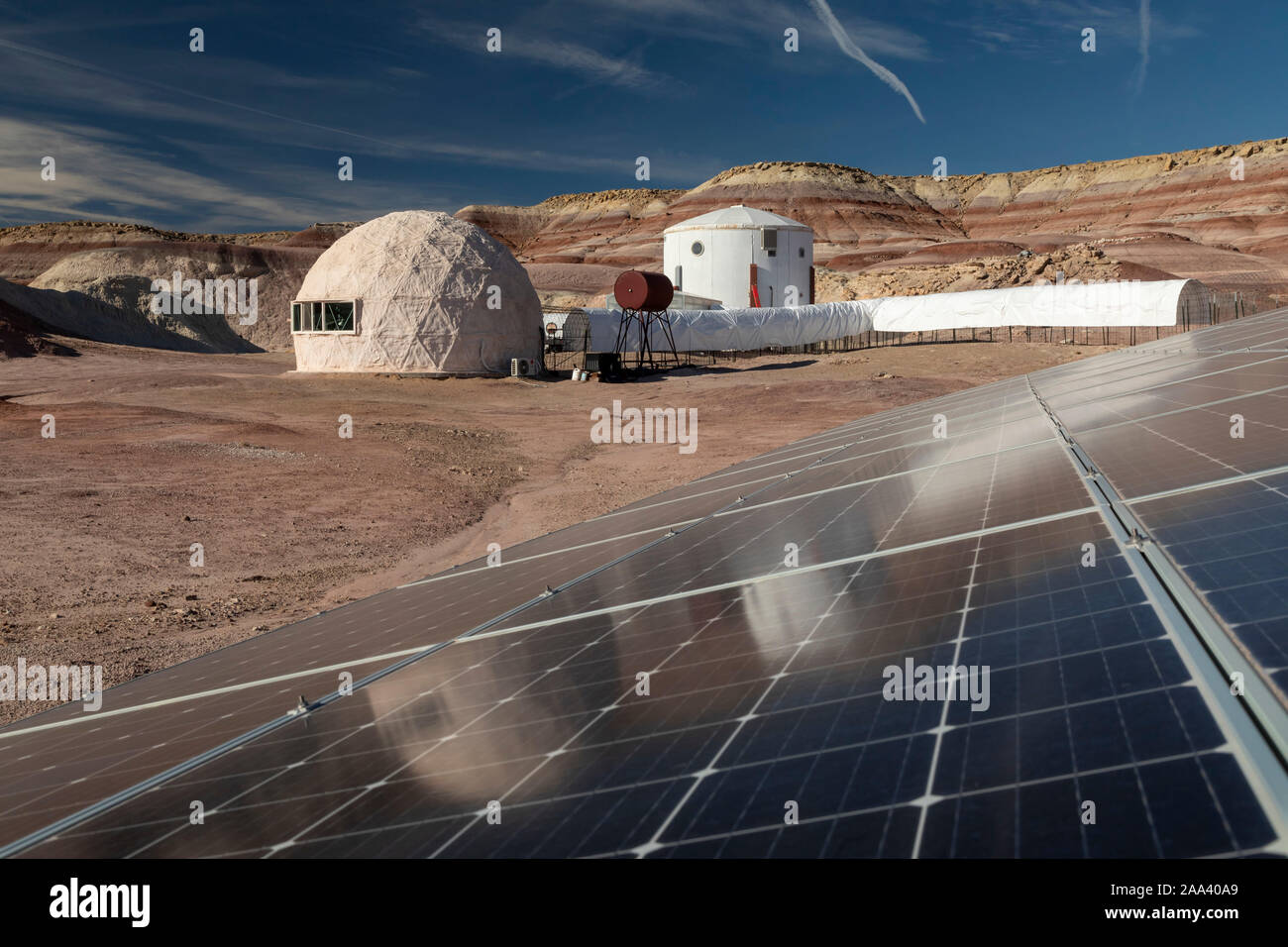 Hanksville, Utah - Researchers simulate living on Mars at the Mars Desert Research Station. A 15 kW solar system provides electricity to the station. Stock Photo
