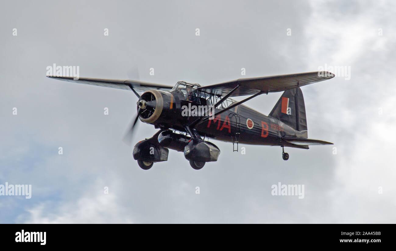 Westland Lysander V9552 flypast Stock Photo