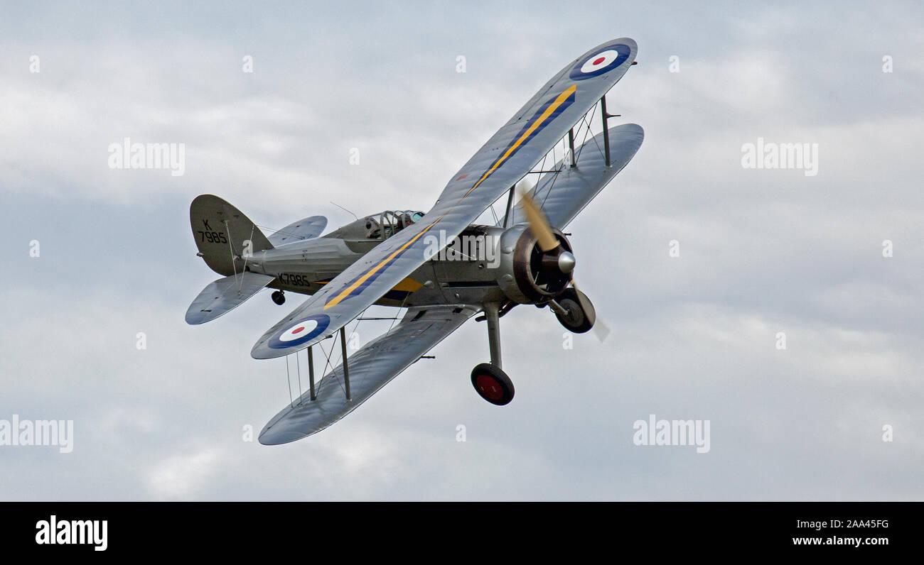 Gloster Gladiator G-AMRK K7985 air display Stock Photo