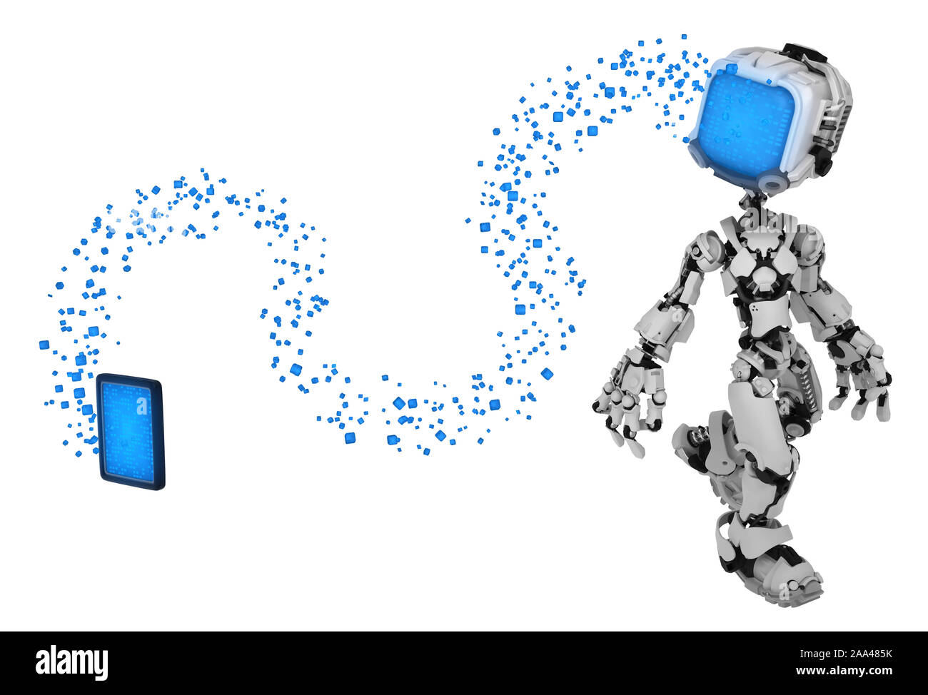 Screen robot figure character pose data stream transfer from tablet, 3d illustration, horizontal, isolated Stock Photo