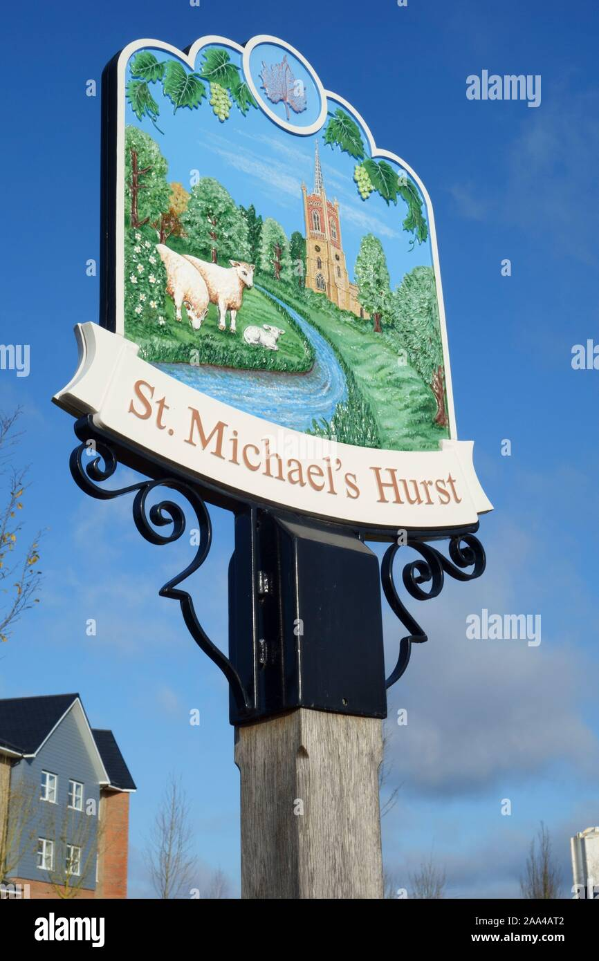 st michaels hurst signage at new build housing development employment land, shops, community facilities in Bishops Stortford, Hertfordshire, England Stock Photo