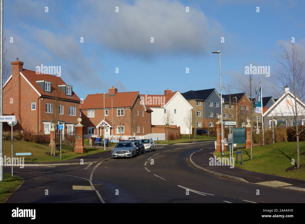 st michaels hurst new build housing development employment land, shops, community facilities in Bishops Stortford, Hertfordshire, England Stock Photo