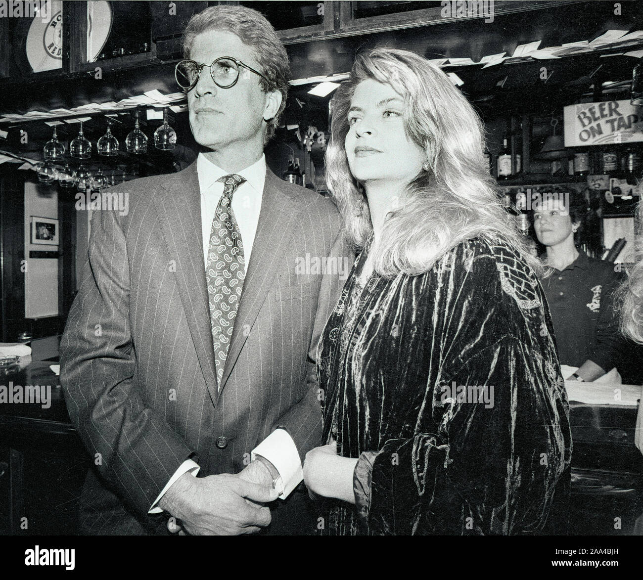 "Actors Ted Danson (left) and Kristie Alley (right) at the ""Cheers"" celebration at the BullFInch Pub in Boston Ma USA 1990's photo by bill belknap Stock Photo"