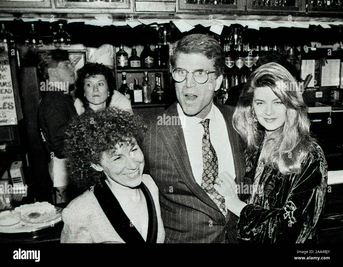 """Actors Rhea Perlman (left),Ted Danson (center) and Kristie Alley (right) at the """"Cheers"""" celebration at the BullFInch Pub in Boston Ma USA 1990's photo by bill belknap Stock Photo"""