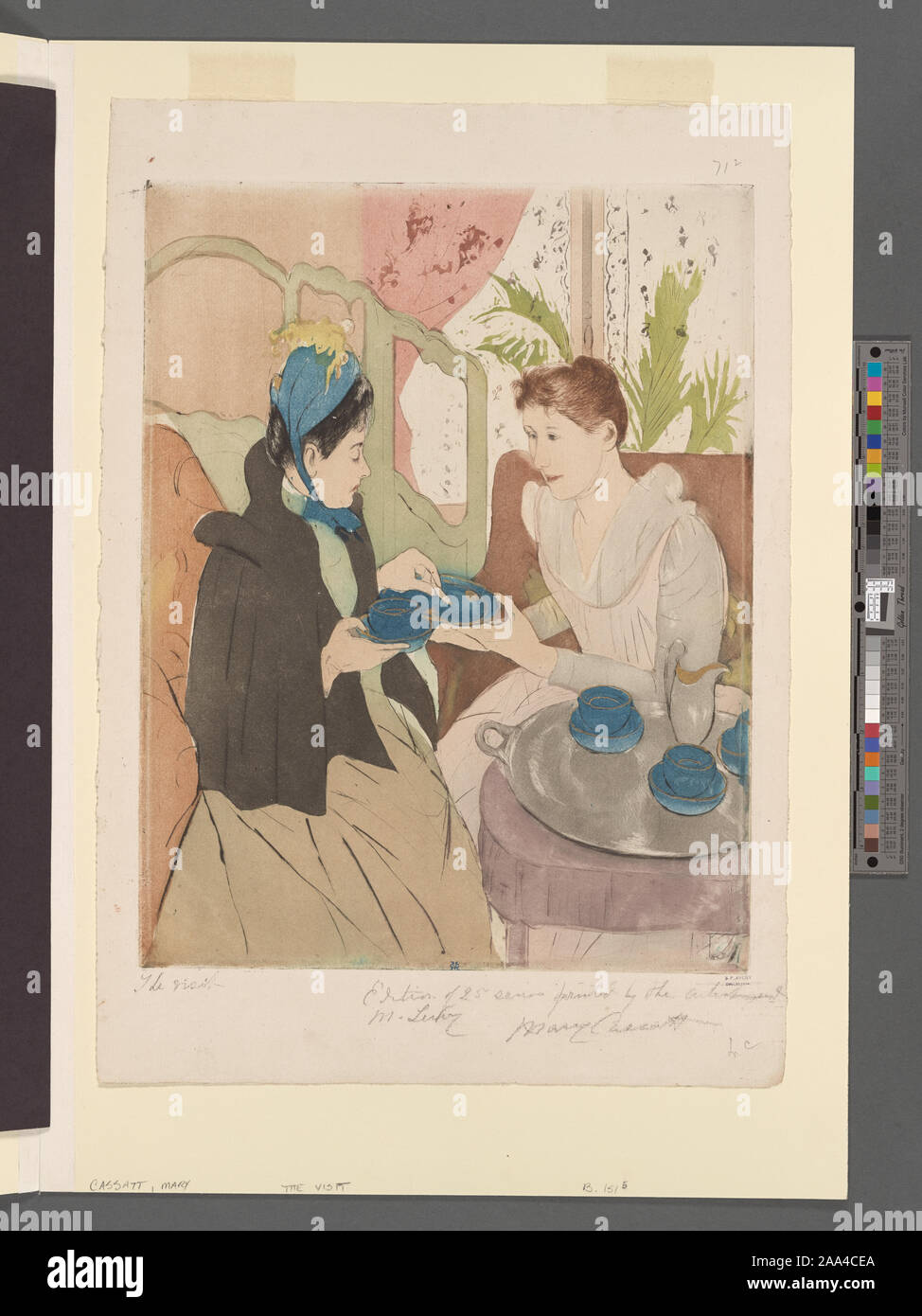 Marks in plate, l.c.: MC. Inscription in pencil, l.l.: The visit; in pencil, l.r.: Edition of 25 series printed by the artist and M. Leroy. Citation/Reference: Breeskin 151 iii/iii; Mathews/Shapiro 13 v/v Signed in pencil, l.r.: Mary Cassatt. Accession no. 108314; Afternoon tea party. Stock Photo