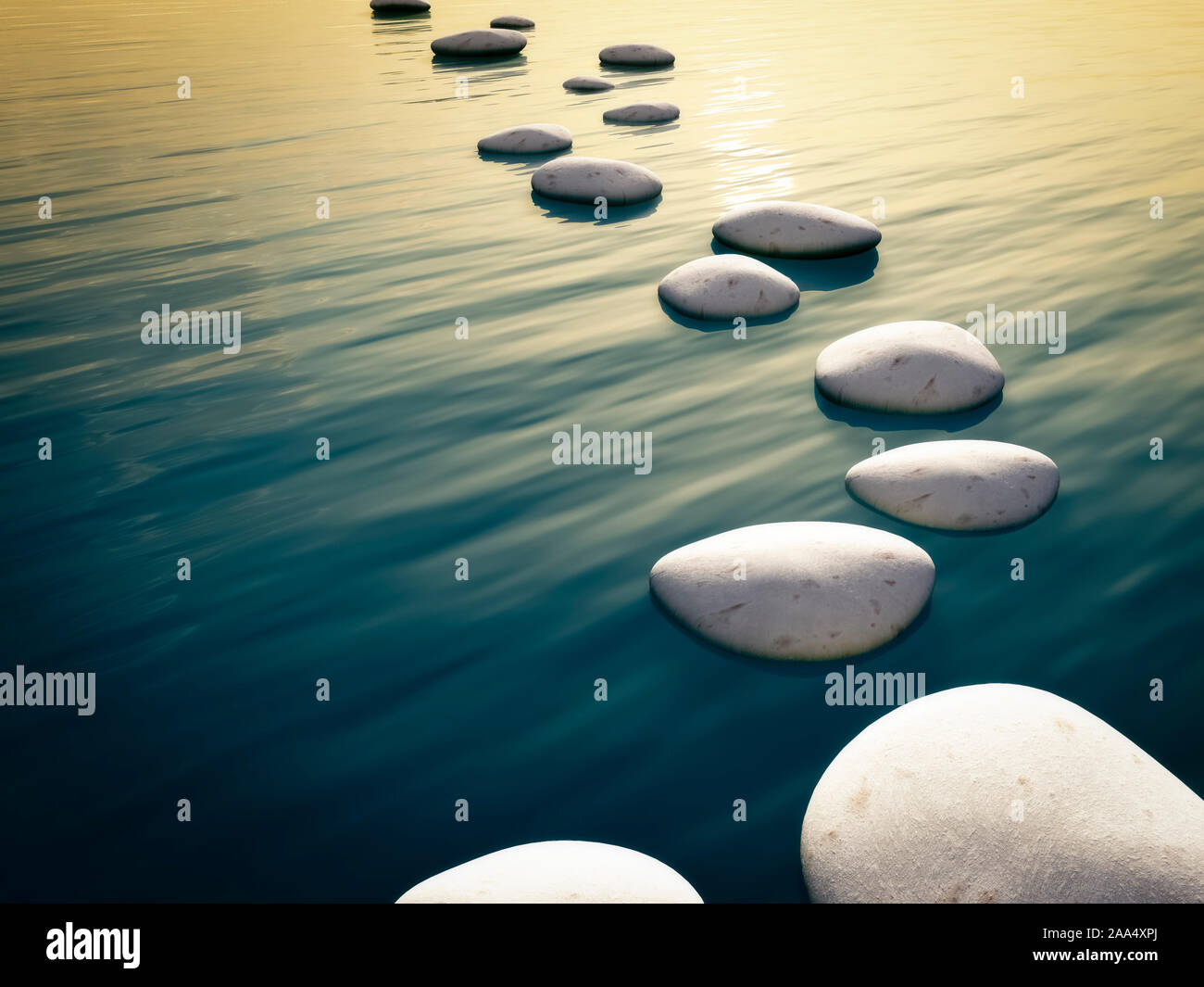Weisse Steine, die in einer Linie angeordnet sind, um ueber das Wasser schreiten zu koennen Stock Photo