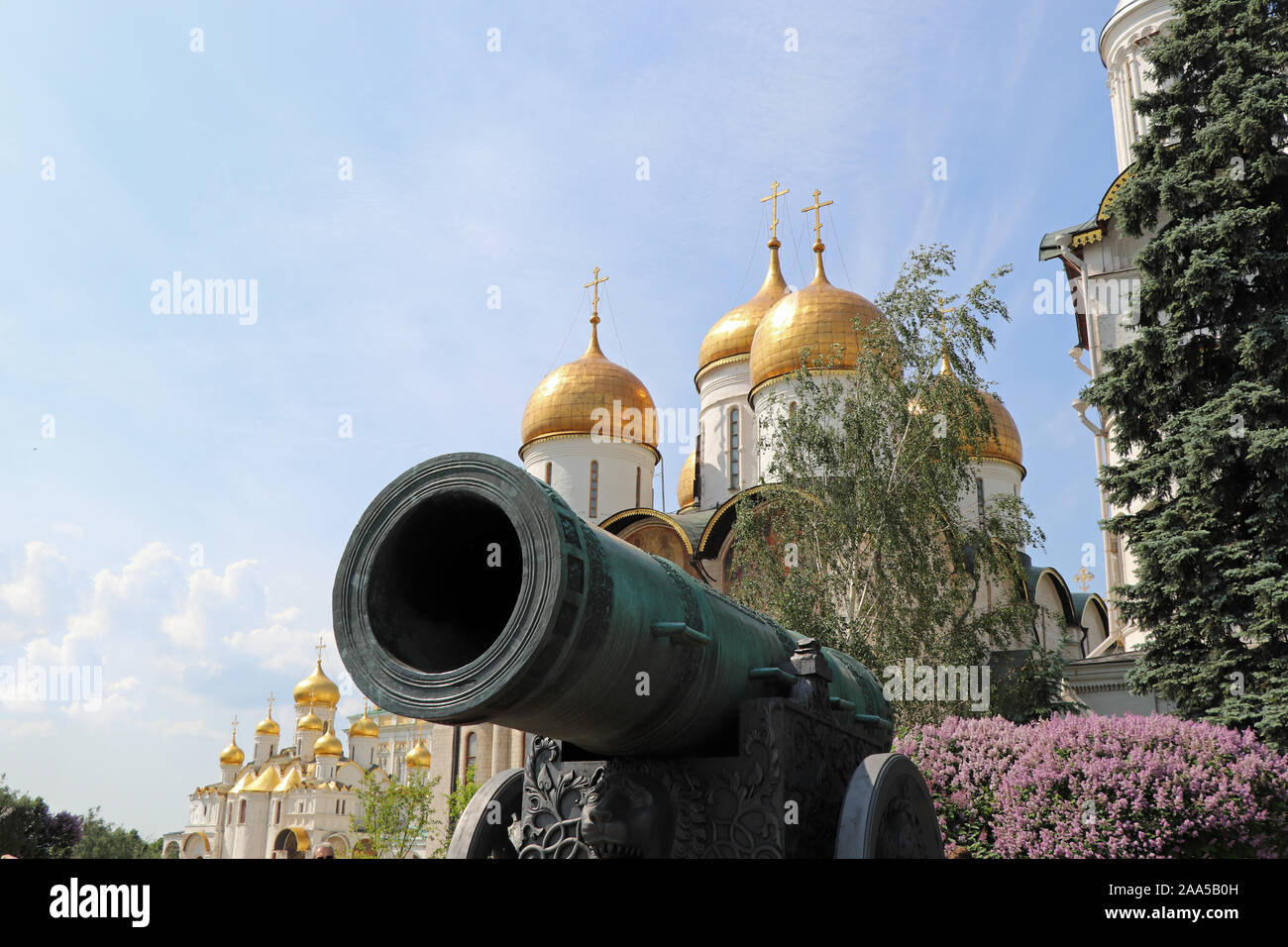 Tsar's cannon in Moscow Kremlin and Cathedral of the Assumption Stock Photo