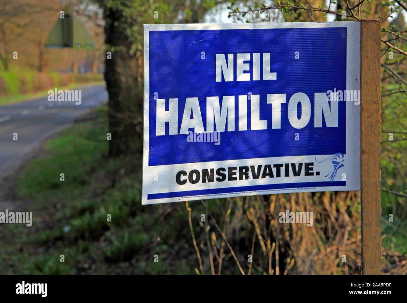 Neil Hamilton, Vote Conservative sign, General Election Knutsford Tatton Ward, Cheshire, North West England, UK Stock Photo