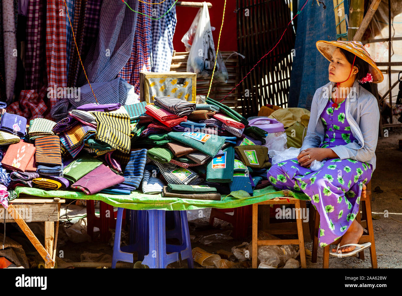 A Colourful Clothes Shop Pindaya Shan State Myanmar Stock Photo Alamy