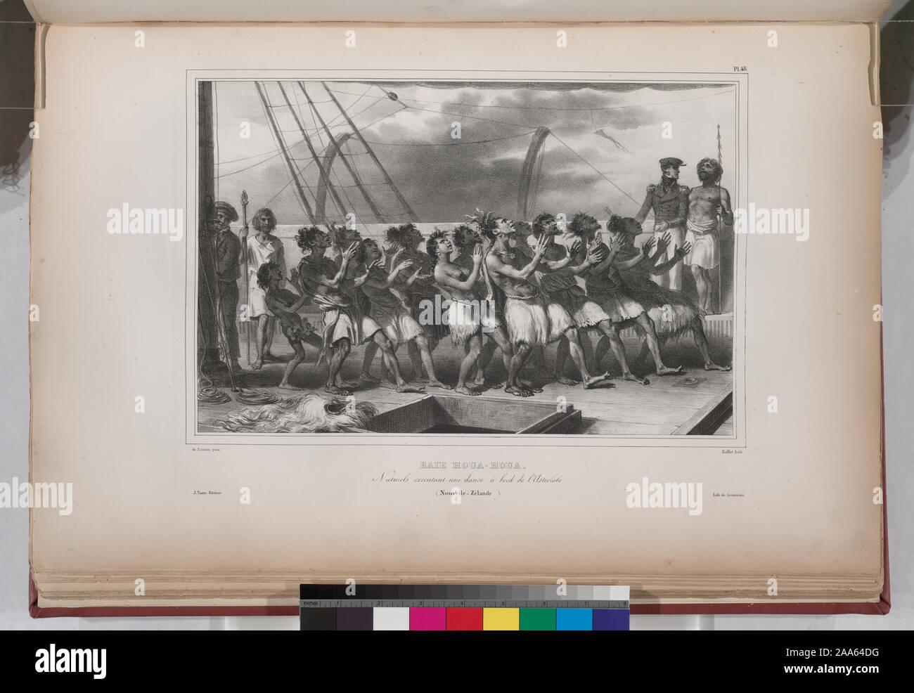 Baie Houa-Houa. Naturels exécutant une danse à bord de l' Astrolabe. (Nouvelle-Zélande.).; Baie Houa-Houa. Naturels exécutant une danse à bord de l' Astrolabe. (Nouvelle-Zélande.). Stock Photo