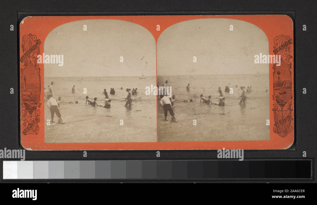 Includes views by Anthony, Keystone, Strohmeyer & Wyman and other photographers and publishers. Robert Dennis Collection of Stereoscopic Views. Title devised by cataloger. Views of Coney Island, Brighton and Manhattan Beaches: people on the beach, in the water, one view showing drowned boy, rescuers and onlookers, benches, Iron Pier, Oriental Hotel and an amusement ride called the Razzle Dazzle at Coney Island; Music Pavilion, boardwalk, Hotel Brighton, Feltman's Hotel at Brighton Beach; Manhattan Beach Hotel, music stand; toll gate on Shell Road.; Bathing scene. (West Brighton Beach, Coney Is Stock Photo