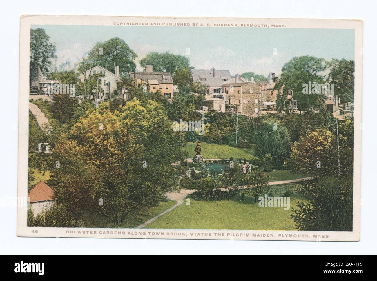 Brewster Gardens Along Town Brook; Statue The Pilglim Maiden, Plymouth, Mass.; Brewster Gardens Along Town Brook; Statue: The Pilgrim Maiden, Plymouth, Mass.  Sculptor: Henry Hudson Kitson. Stock Photo