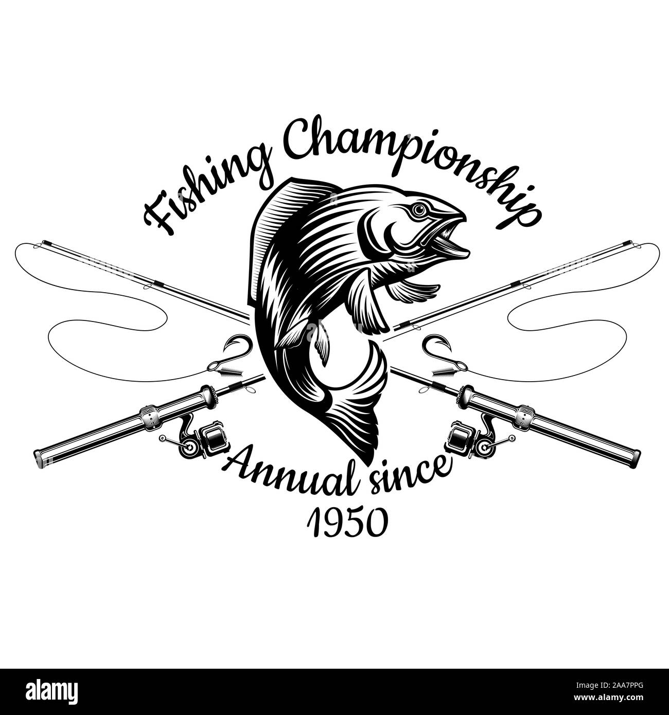 Salmon Fish Bend In Engrving Style With Crossed Fishing Rods Label For Fishing Championship And Sport Club On White Stock Vector Image Art Alamy
