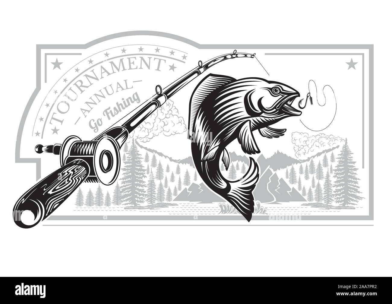 Salmon Fish Bend In Engrving Style With Fishing Rods On Nature Background Label For Fishing Championship And Sport Club On White Stock Vector Image Art Alamy