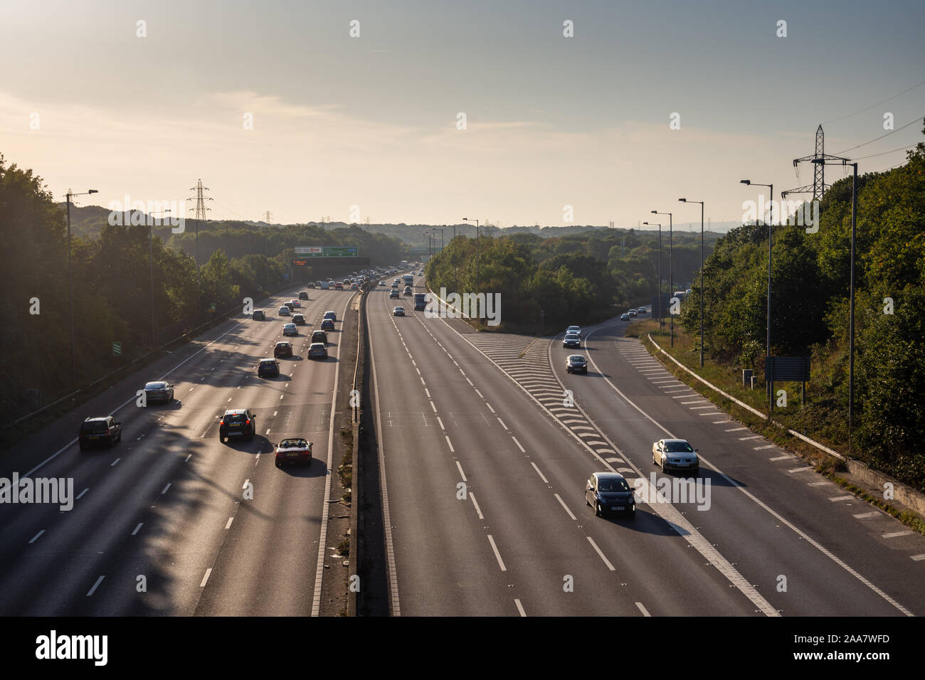 Dartford, England, UK - September 21, 2019: Traffic flows on the A2 motorway at Ebbsfleet between Dartford and Gravesend in north Kent. Stock Photo