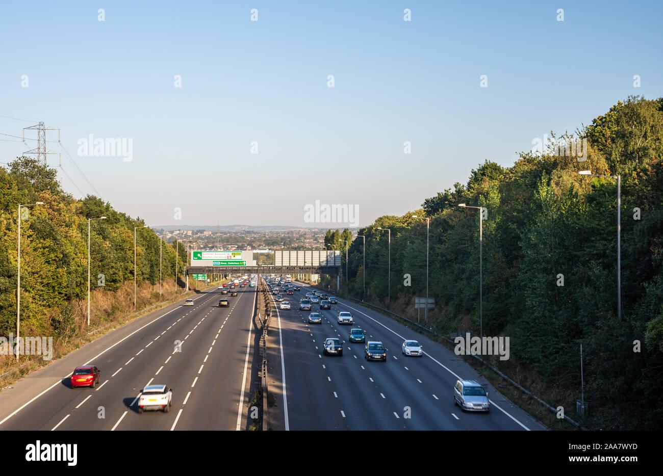 Dartford, England, UK - September 21, 2019: Traffic flows on the A2 motorway at Ebbsfleet between Dartford and Gravesend in north Kent. Stock Photo