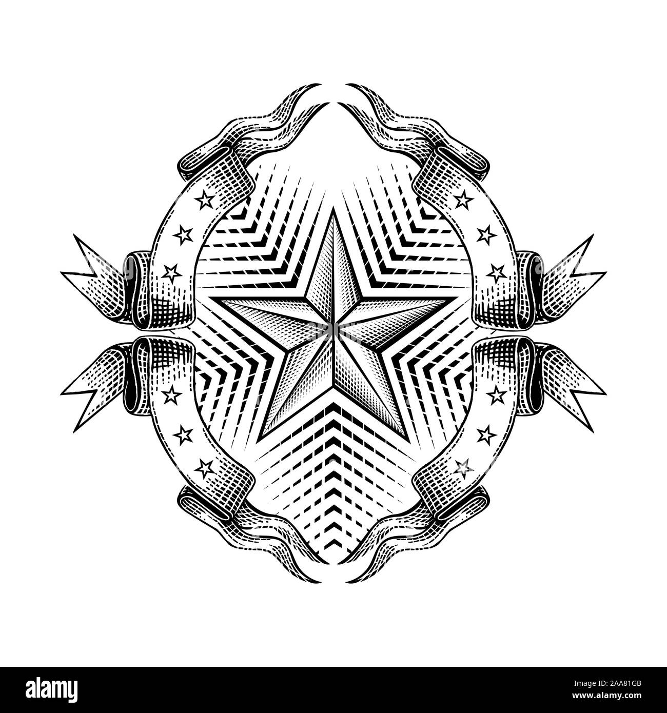 Engraving star in the middle of frame from ribbon isolated on white. Vintage style for print or design Stock Vector