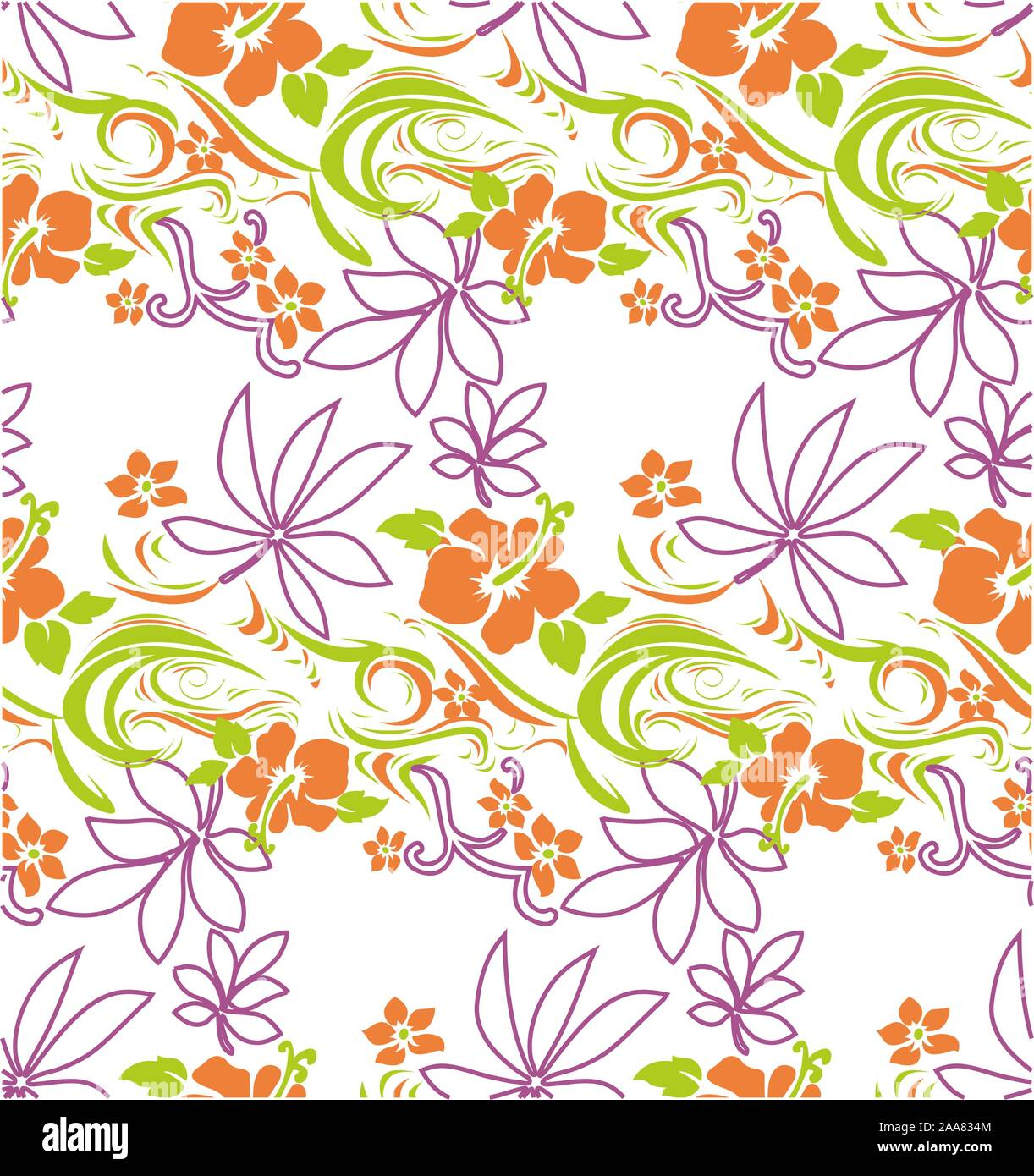 Cute colored vector flowers. Seamless floral pattern on white background. Stock Vector