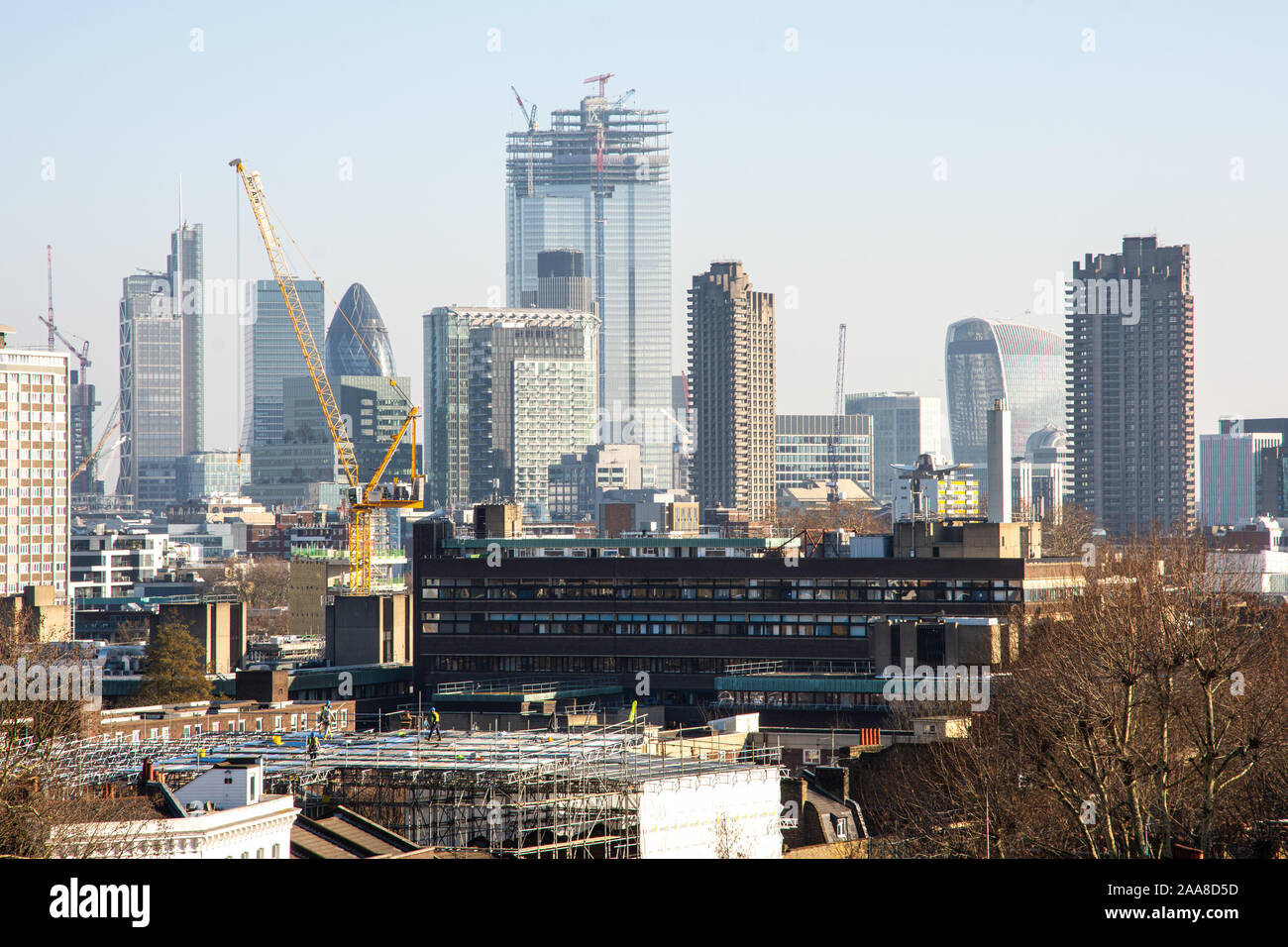 London, England, UK - February 27, 2019: The 22 Bishopsgate skyscrape approaches full height in the fast evolving skyline of the City of London financ Stock Photo