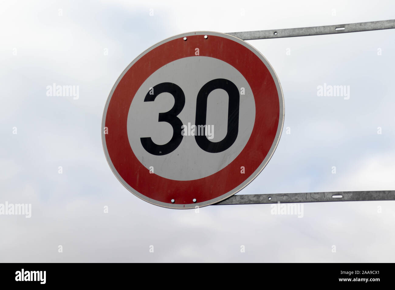 German round, red 30 km/h traffic sign Stock Photo