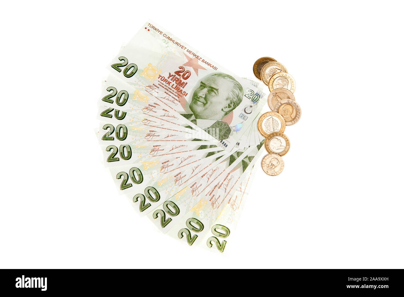 Turkey currency - Turkish Lira bank notes and coins on white background Stock Photo