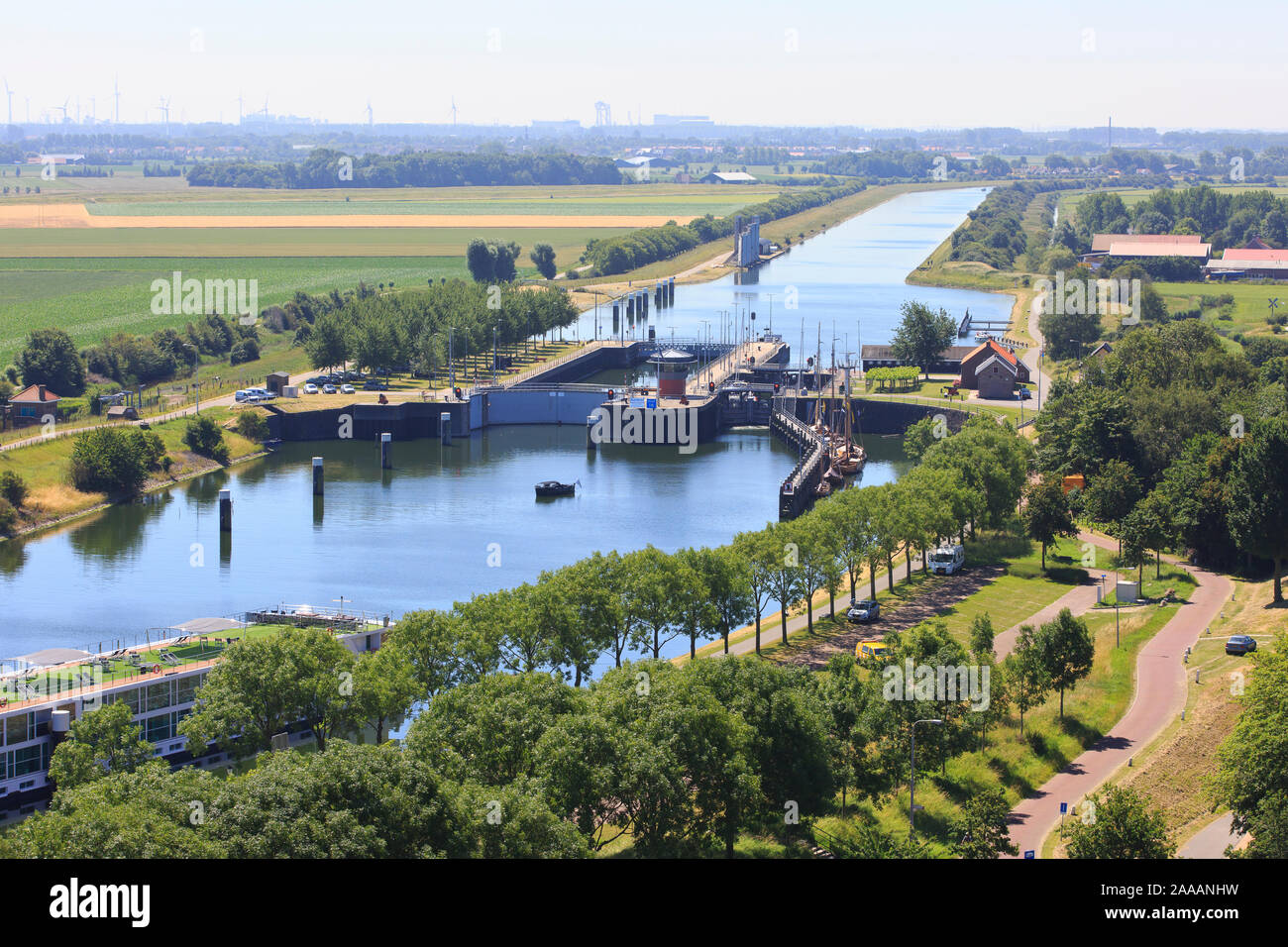 Panoramic view over the locks and the Canal through Walcheren to Middelburg in Veere (Zeeland), Netherlands Stock Photo