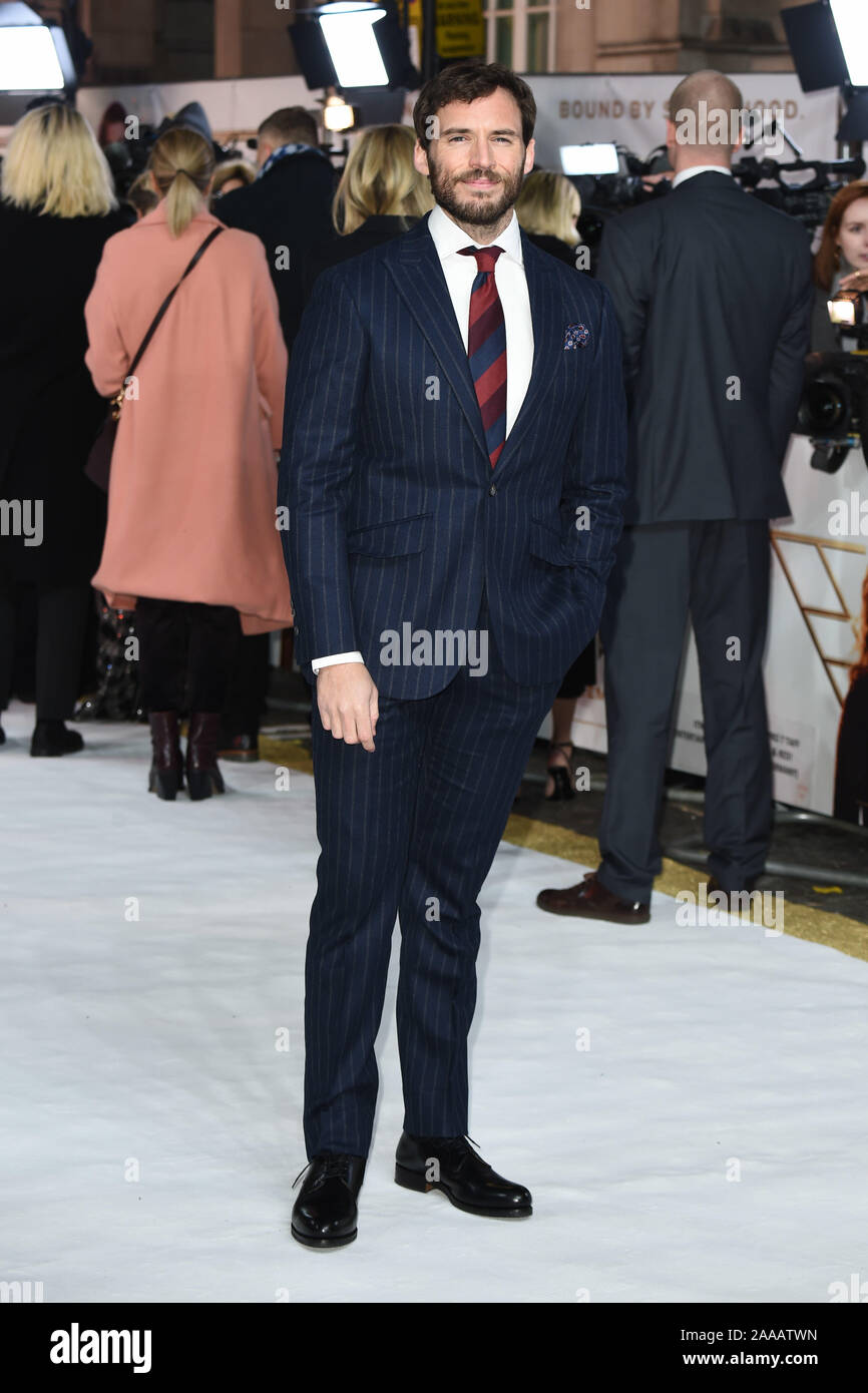 """LONDON, UK. November 20, 2019: Sam Claflin arriving for the """"Charlie's Angels"""" premiere at the Curzon Mayfair, London. Picture: Steve Vas/Featureflash Stock Photo"""