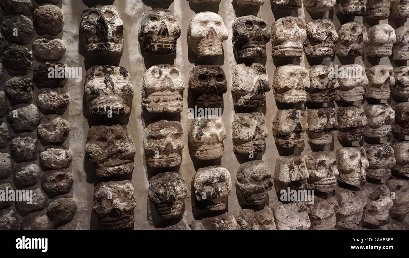 Excavated Tzompantli, other wise known as ancient Aztec skull rack or skull banner from MesoAmerican sacrifices at Templo Mayor, Mexico City. Stock Photo