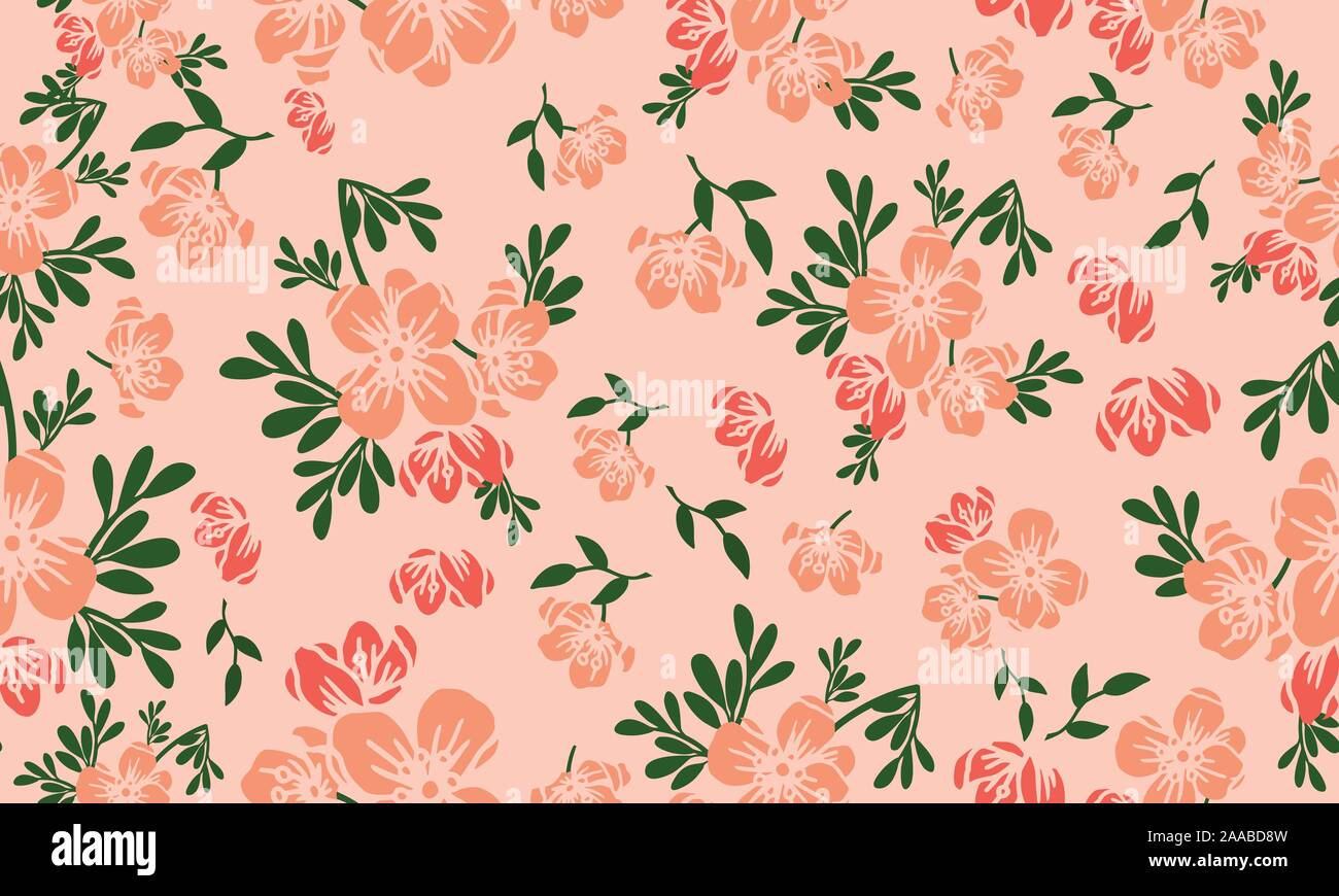 wallpaper seamless floral pattern on peach background stock vector image art alamy https www alamy com wallpaper seamless floral pattern on peach background image333395465 html
