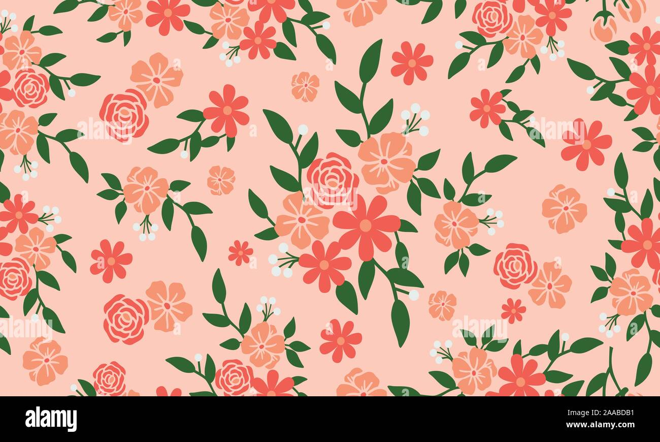 Wallpaper Seamless Floral Pattern On Peach Background Stock Vector