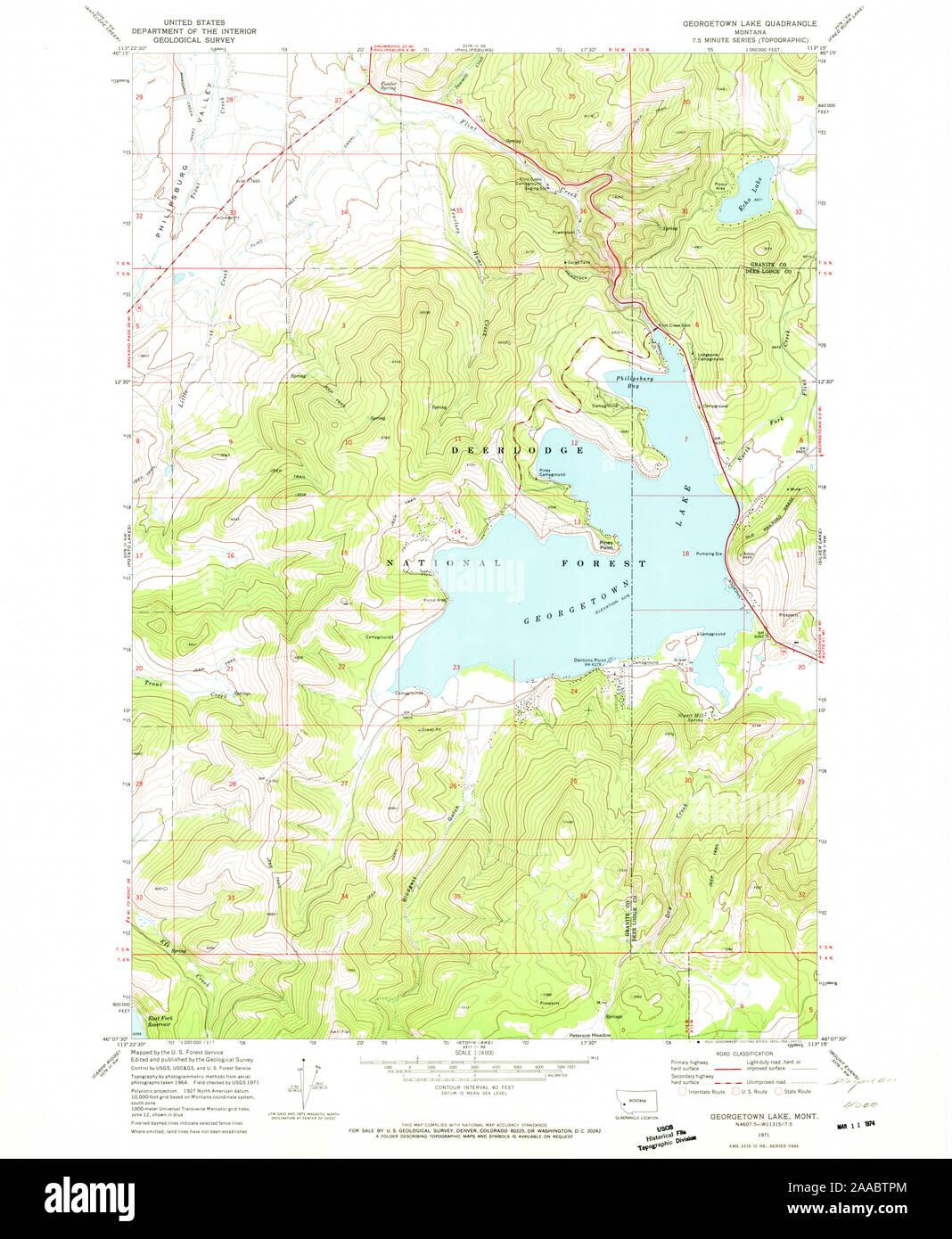 georgetown lake mt map Usgs Topo Map Montana Mt Georgetown Lake 264002 1971 24000 georgetown lake mt map