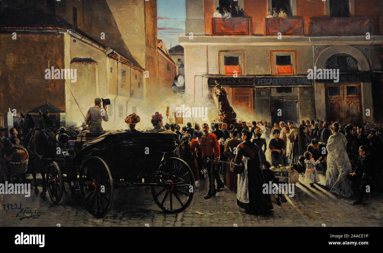 Manuel Fernandez Carpio (1853-1929). Spanish painter. Procession of Saint Anthony in Madrid, 1893. History Museum. Madrid. Spain. (On loan, Prado National Museum, Madrid). Stock Photo