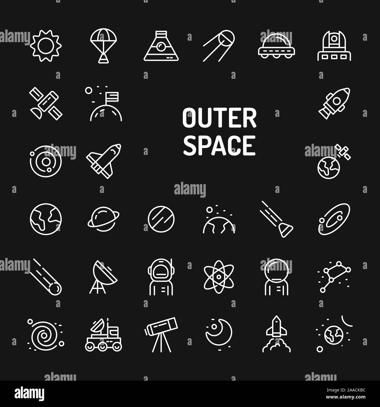 simple white line icons isolated over black background to planets galaxy solar system and space vehicles vector signs and symbols collectio 2AACKBC