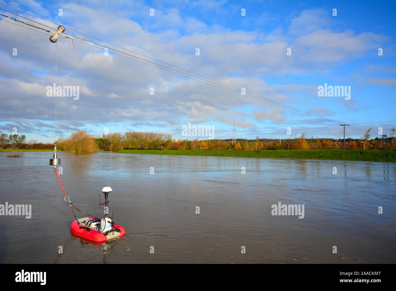 Environment Agency monitor flood waters on the River Dearne, South Yorkshire Stock Photo