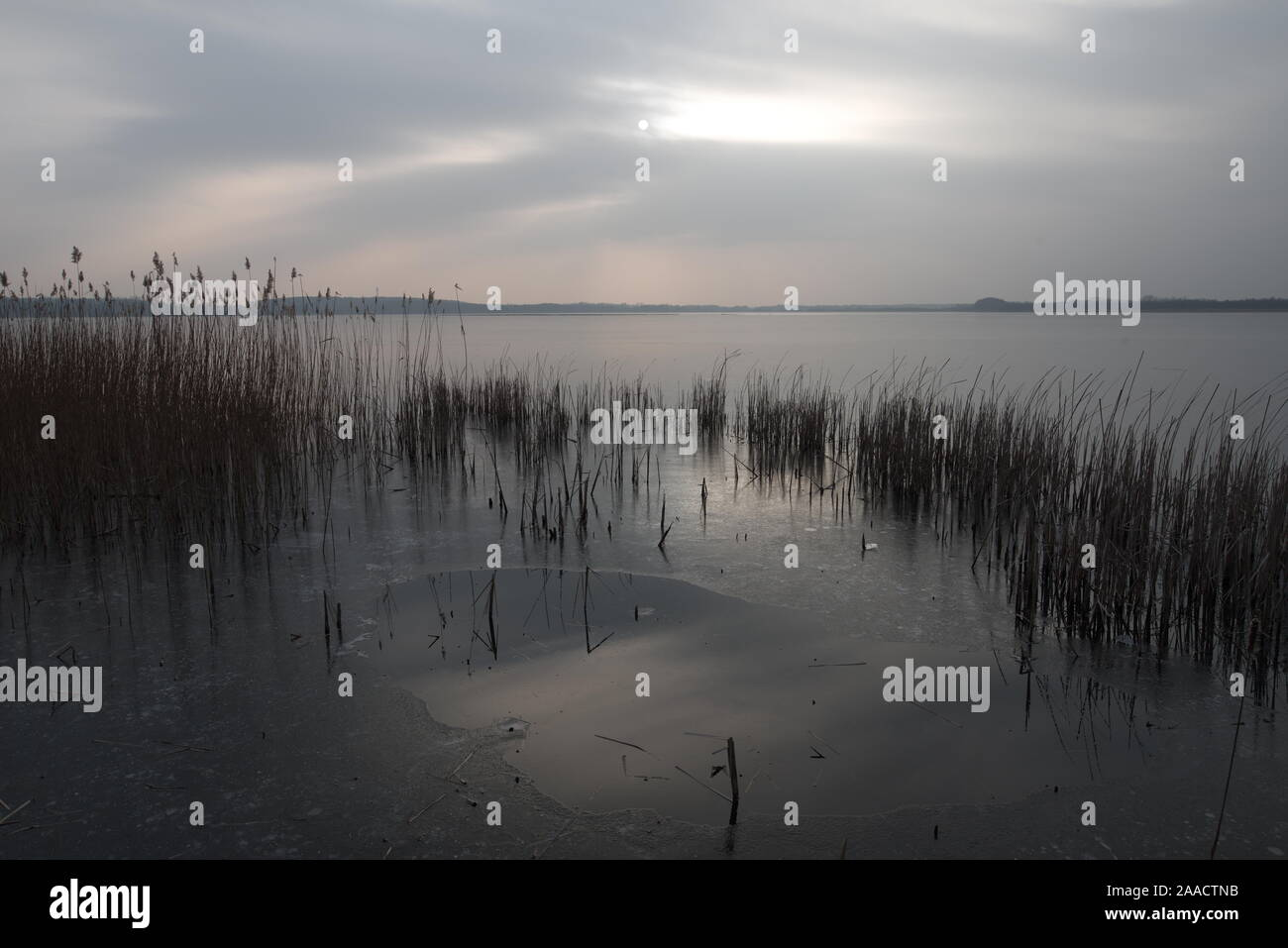 Lake in the village Blankensee near Trebbin in wintertime (Germany) Stock Photo