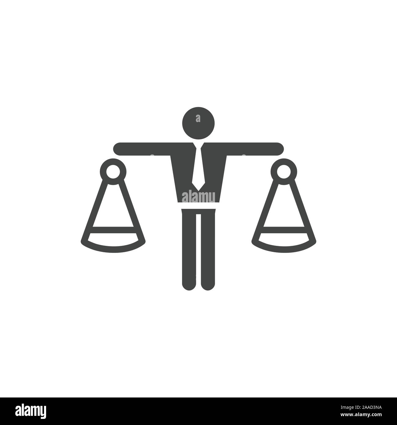 Icon with man weighing decisions - making a decision or choice icon vector Stock Vector