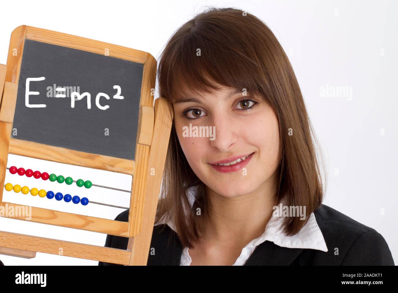 Frau mit Schultafel Stock Photo