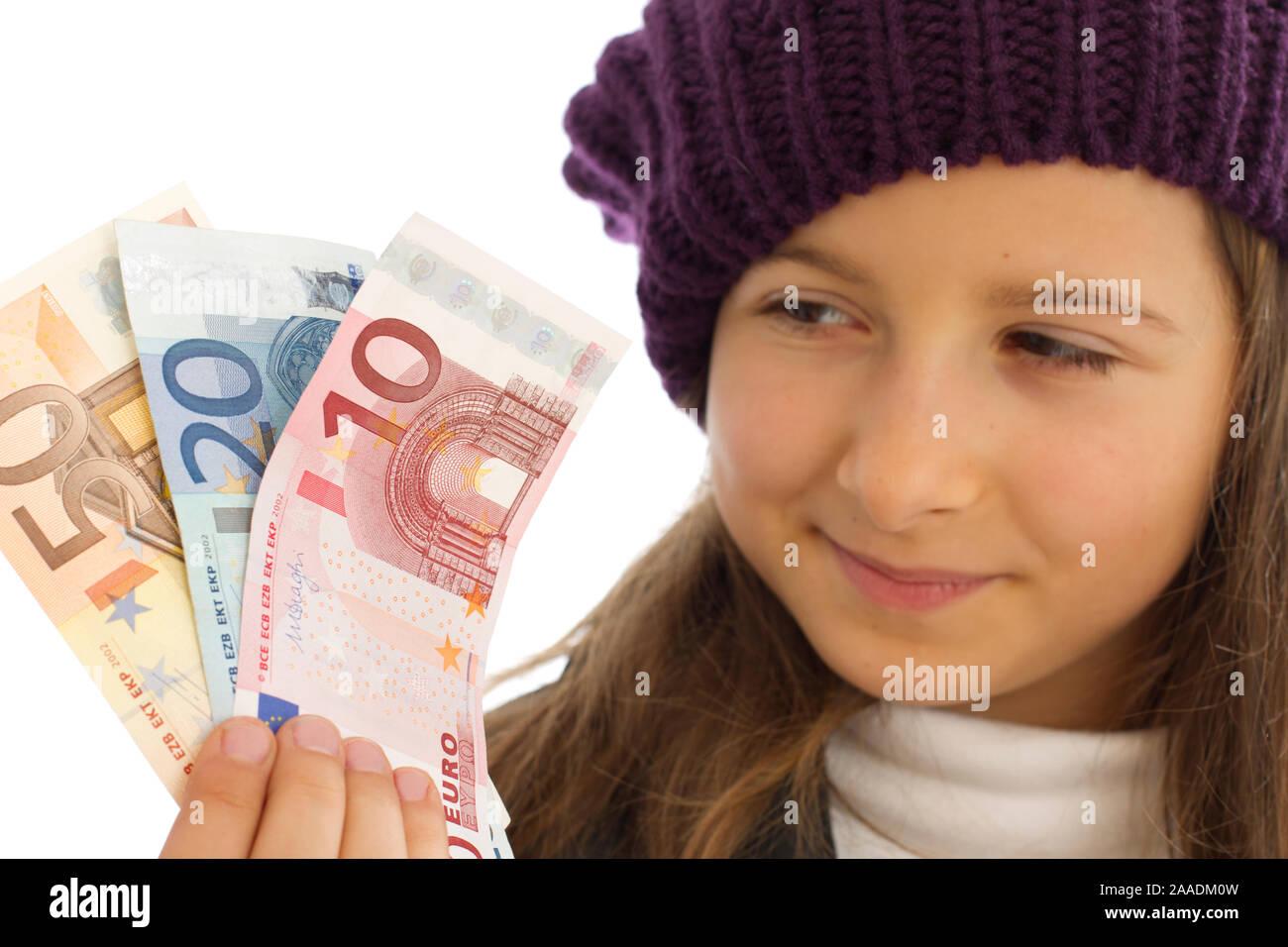 Mädchen mit Geld in der Hand Stock Photo