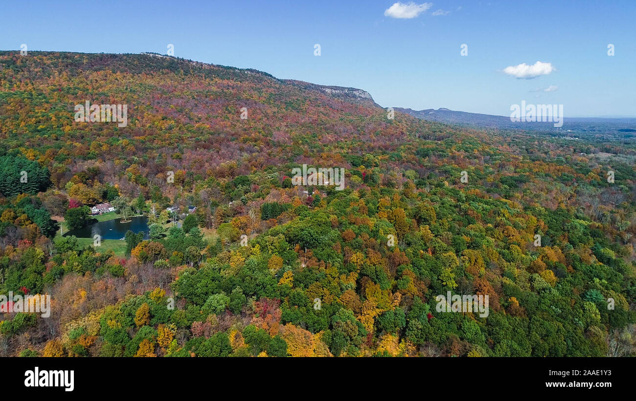 Top View Aerial Autumn Mountain Forest Beautiful Landscape