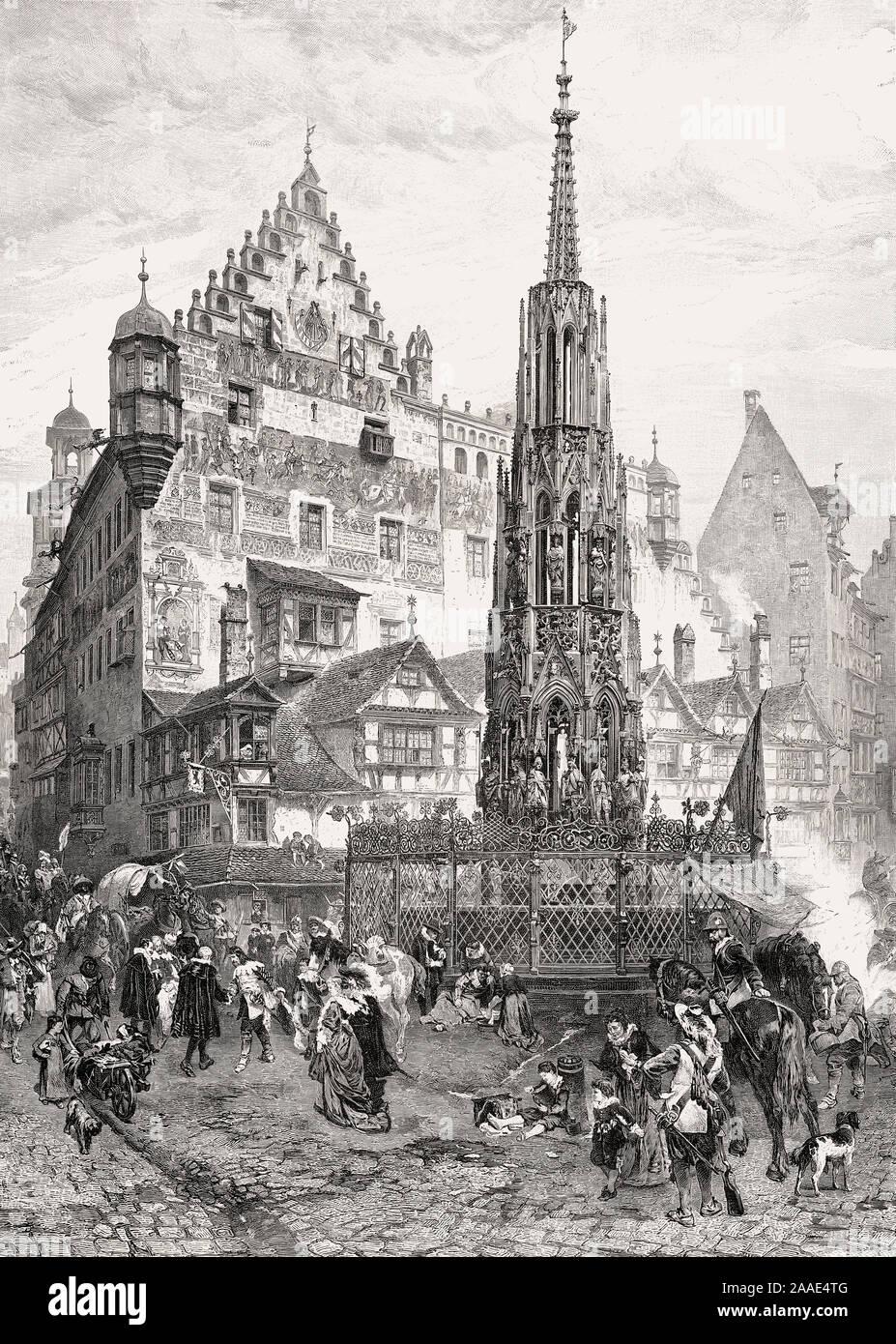 Schöner Brunnen, a 14th-century fountain, Nuremberg, Germany, Europe, 16th century Stock Photo