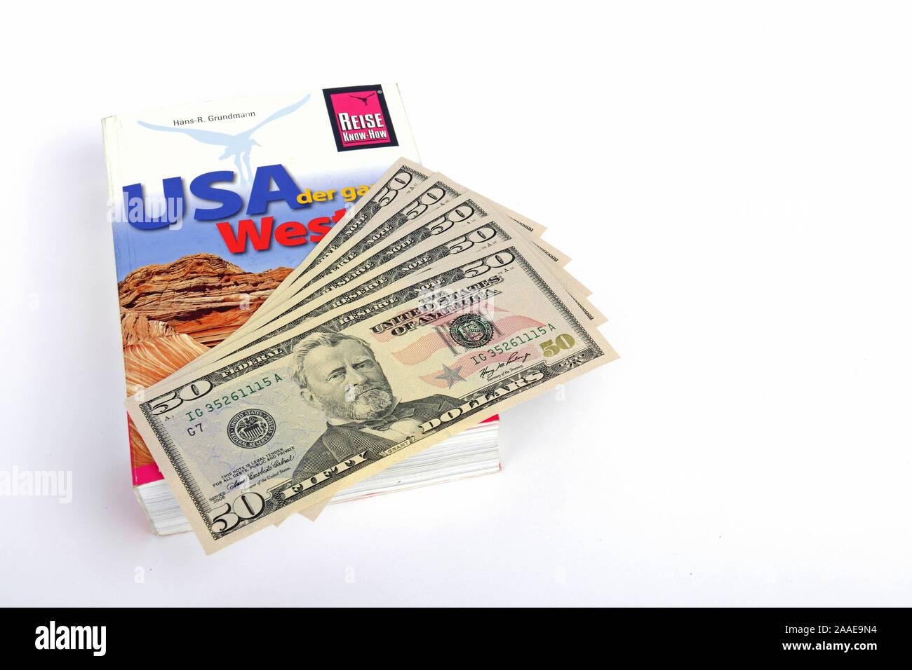 mehrere 50 Dollarscheine, Reisefuehrer USA, Amerika, Suedwesten Stock Photo