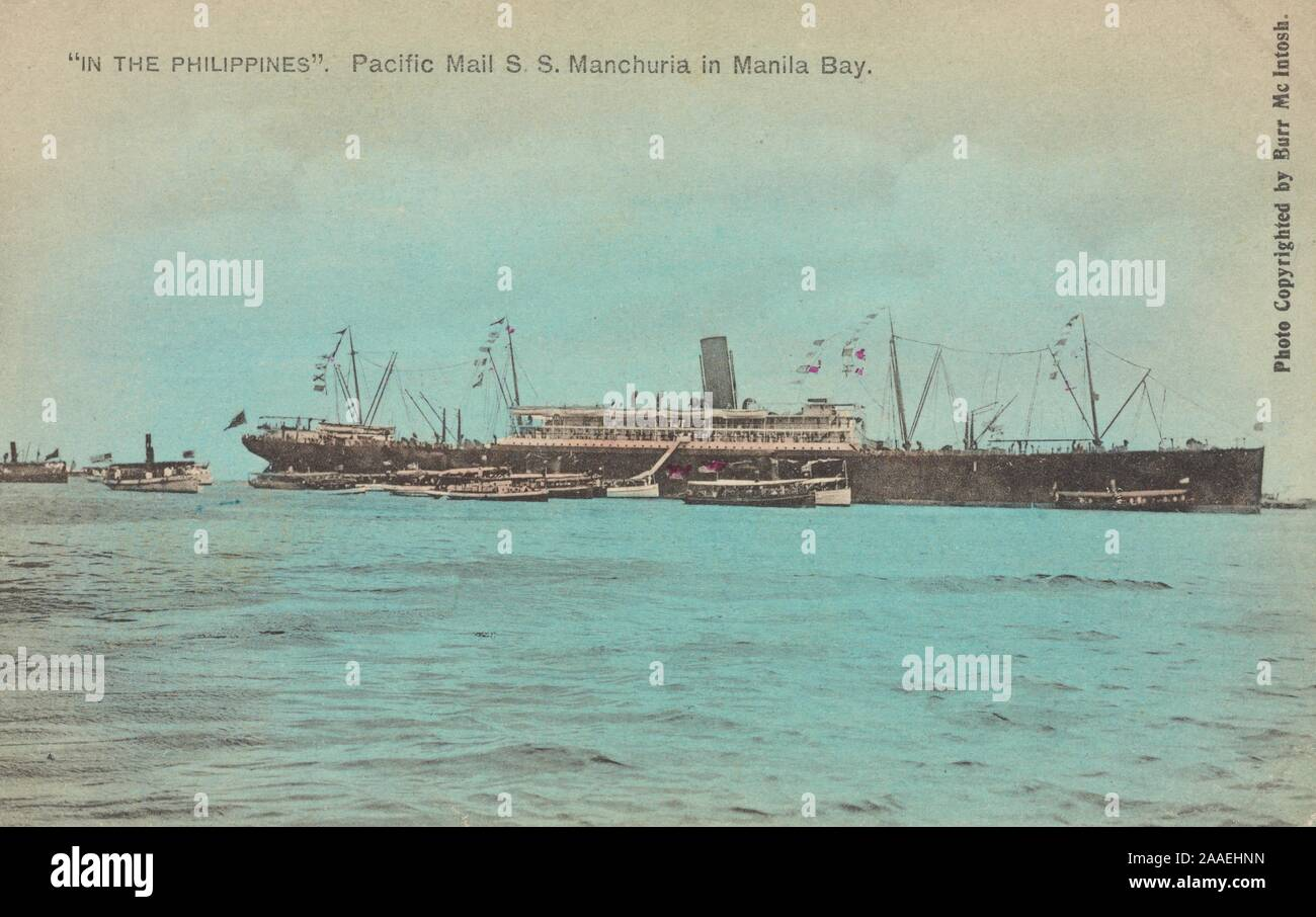 Illustrated postcard of the S.S, 1905. Manchuria of the Pacific Mail Steamship Company in Manila Bay at the moment of the arrival of Governor General Wright, Manila, Luzon Island, the Philippines, by photographer Burr McIntosh, published by H. Hagemeister Co. From the New York Public Library. () Stock Photo