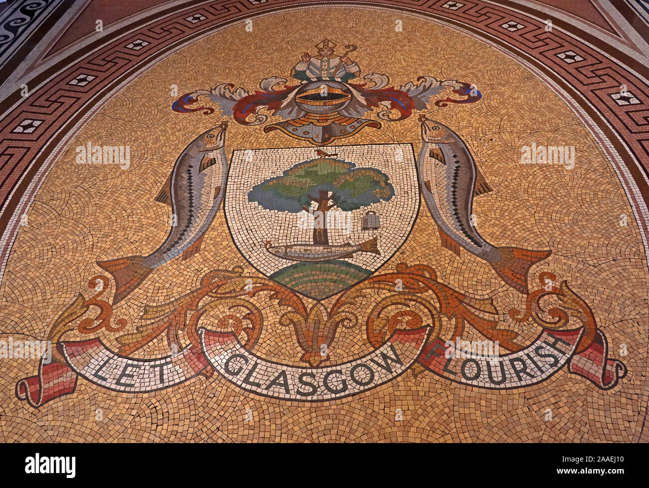 Let Glasgow Flourish Mosaic, The Glasgow coat of arms: bird, tree, bell and fish, from City Chambers, George Square, Scotland, UK, G2 1DU Stock Photo